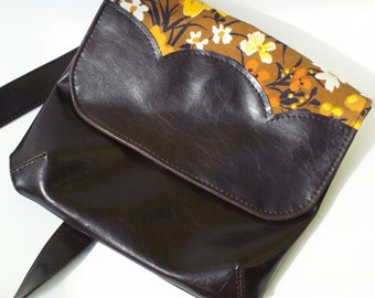 Vegan Bag, Vegan Purse, Vegan Leather Bag, Crossbody Bag, Cross Body Bag, Cross Body Purse, Vegan Purse, Vegan Leather Handbag, Brown Floral