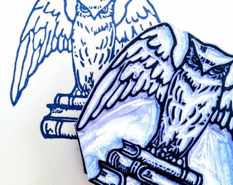Owl Rubber Stamp - Library Books - Hand Carved