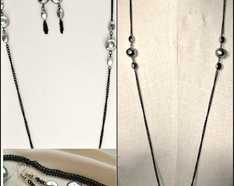 Grey Black Necklace Earrings Set long chain grey baroque faux pearls, 1960s flapper look vintage costume jewelry