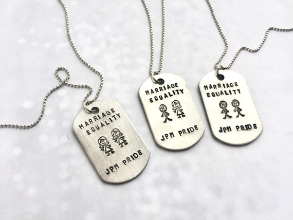 Custom dog tag necklace, Marriage Equality, personalized name necklace, custom name, gift for besties, silver military tag necklace