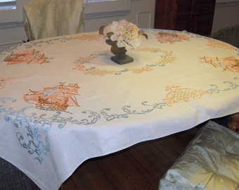 Vintage Tablecloth Embroidered Sailing Ships on the High Seas