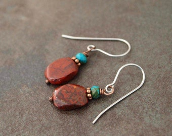 Turquoise and Red Jasper Earrings
