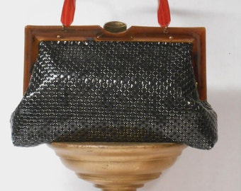 Vintage Whiting Davis BLACK MESH Purse LUCITE Handle Handbag 1950's Midnight Black Mesh Handbag Amber Lucite Frame Gothic Purse Dark Romance