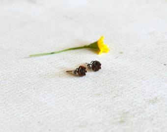 Vintage Flower Earrings- Titanium Brown Flower Studs- Carved Flower Earrings- Hypoallergenic Earrings- Simple Titanium Earrings- Girl Gift