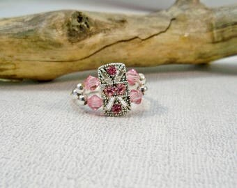 Pink Crystal Stretch Ring, Cocktail Ring, Swarovski Crystal Ring,  Stretch Ring, Women's Jewelry