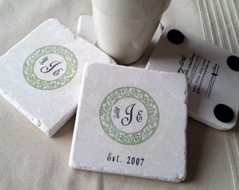 Personalized Monogram Wedding Favor Coasters - Wedding Party Gift - Circular Ivy Design - Set of 25