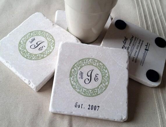 Personalized Coasters Wedding Gift: Personalized Monogram Wedding Favor Coasters Wedding Party