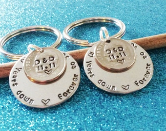 10 Year Anniversary Keychains, Couples Keychains, Anniversary for him, Anniversary for Men, Anniversary for Husband, Gift for husband, Dime