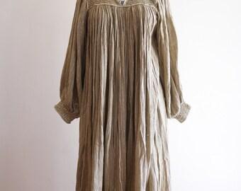Metallic GOLD cotton gauze 60s / 70s boho festival hippie Indian dress sz. Small / Medium