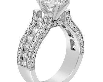 2.10ctw Round cut ANTIQUE STYLE diamond engaegment ring 14k white gold KR110