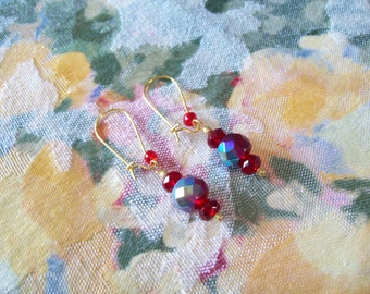 Deep Red Aurora Borealis Drop Earrings