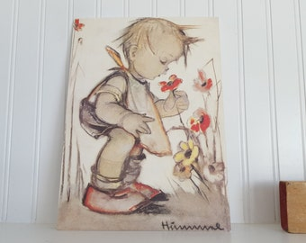 Hummel Print, Dry Mounted on Foam Board, Boy Smelling Poppies, Yellow and Red 7.5x10.75 Inches