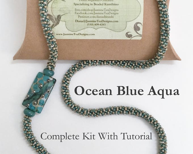 Aqua Blue Ocean Fully Beaded Kumihimo Necklace Kit, Asymmetric Necklace Kit With Artisan Lampwork Focal Bead, Complete Kit With Tutorial