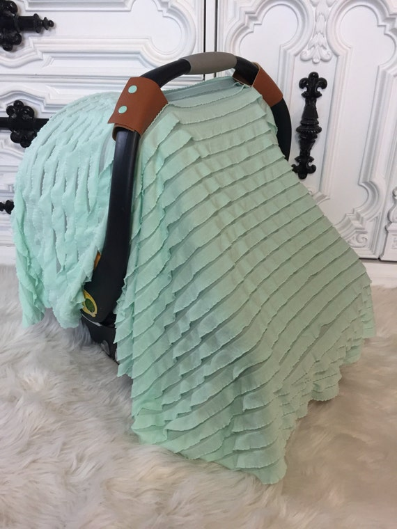 Leather N Lace Line  , Car seat canopy , Car seat cover , Car seat tent , RTS , ooak , sheer mint ruffle