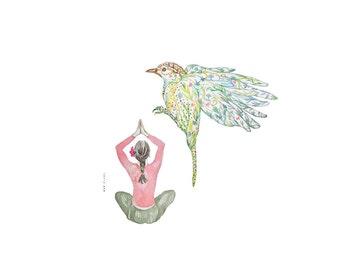 Messenger bird and Yoga girl watercolor, Meditation Art, Art Print