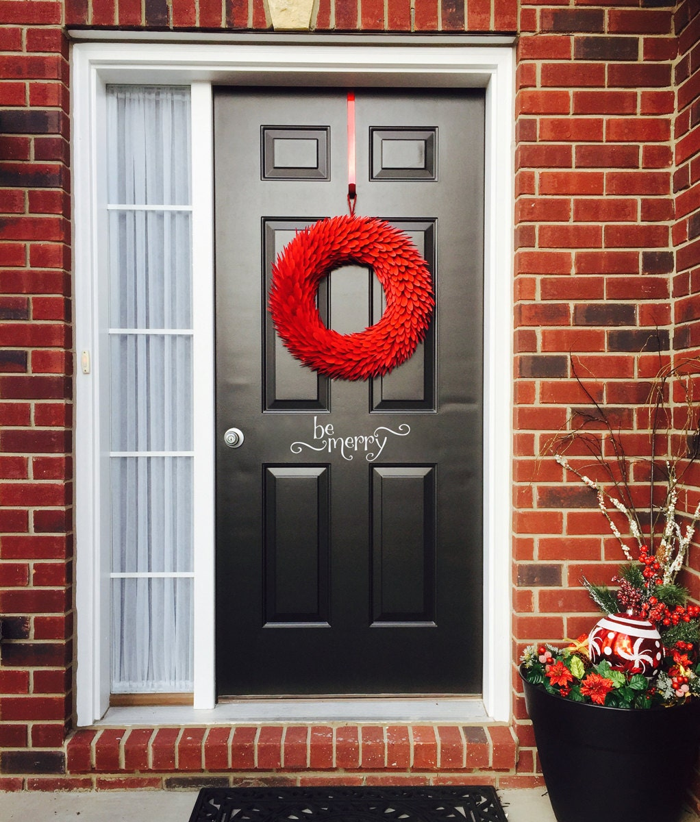 Be Merry Decal Front Door Decal Christmas Wall Decal