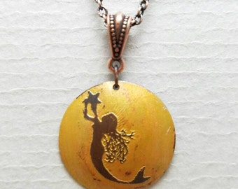 Etched Copper Mermaid with Star Necklace