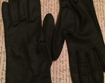 Vintage 1950s Black Satin Nylon Driving Gloves - Button Wrist  - small