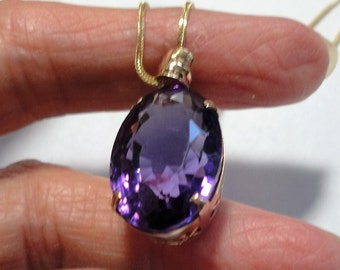 "Amethyst 14k Pendant w 18"" Solid 14k Gold Foxtail Chain Spectacular AAA Amethyst 19ct. Vintage Jewel Pendant in 14k Gold on 14k Chain"