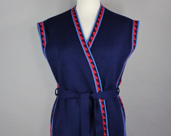 FREE SHIPPING Women's Navy Tribal Sweater Vest, 70s Vintage, Hippie, Rocknroll, Boho, Bohemian, Sleeveless, Size Medium