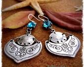 SAND DOLLAR Earrings Aqua Blue Crystal earrings Boho Mermaid EARRINGS Ocean jewelry Bohemian Indie earrings silver womens fashion GPyoga