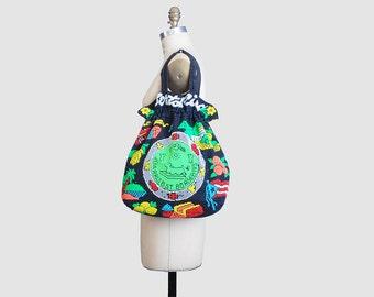 Vintage 70s BEADED Puerto Rico Drawstring Purse / 1970s Rainbow Beaded Shoulder Bag