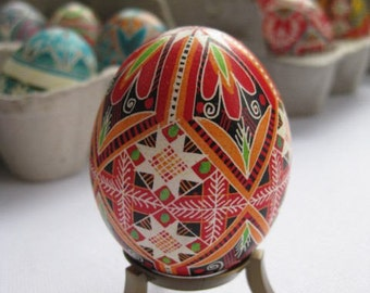 season greatings Traditional Ukrainian Easter gifts Red Pysanka with 8 corners white stars Christmas color ornament can be personalized