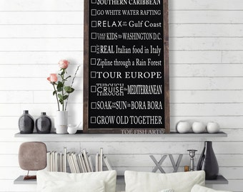 Bucket List| Design Your Own BUCKET LIST| Personalized Typography Word Art |Wood Sign| Customized Bucket List