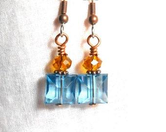 Drop Earrings Blue Topaz Crystal Blue Zircon Sparkle Earrings Surgical Steel Earrings Beaded Birthstone
