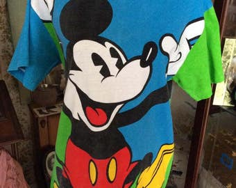 Vintage 1980s 1990s Tee Shirt Mickey Mouse By Donnkenny Apparel Mickey & Co. 100% Cotton Size Large
