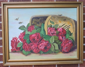 Vintage VICTORIAN Style Red ROSES after Paul deLongpre Basket Bee Oil Painting Gold Frame c1950s