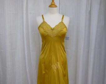 Slip Dress 32/34 Small Golden Yellow Glam Garb Handmade USA Romantic Nightgown Victorian Full Slip Vintage Hand Dyed Rockabilly Boho Hippie