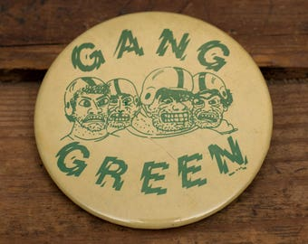 "1978 Gang Green 3"" Button Pin, Vintage 70s, NFL Football, Celluloid Pinback Metal, Green Bay Packers, New York Jets, Oregon Ducks"