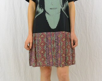 Vintage Upcycled Drop Waist Dress, The Cure, XS, New Wave, OOAK, Robert Smith, OOAK, Quirky, Unique, T Shirt Dress, Tumblr Clothing