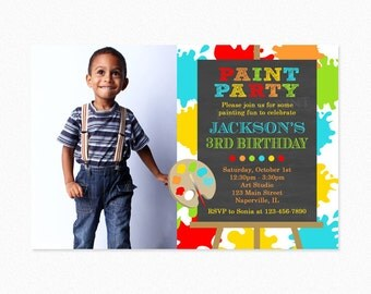 Art Birthday Party Invitation, Paint Birthday Party Invitation, Red, Green, Blue, Boy, Photo, Printable and Printed