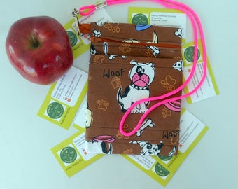 Dog print phone pouch vegan dogs, paw prints, bones food bowls make this special cotton zippered roomy with an outer pocket includes lanyard