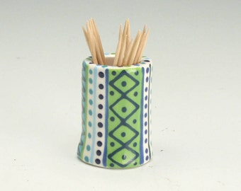 Toothpick Holder, Ceramic Tooth Pick Holder, Small Bud Vase, Hand Built Pottery, Tooth Pick Dispenser, Gifts under 20, Handmade Gifts