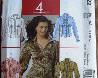Easy to Sew Misses Shirts with Collar and Sleeve Variations, Front Gathers, Princess Seams Sizes 6 8 10 12 McCalls Pattern M5522 UNCUT