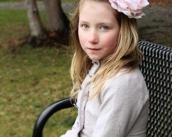 pink flower headband, pink clip, light pink peony headband,large flower headband,pink baby headband,flower girl headband or flower hair clip