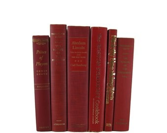 Red Decorative Books , Vintage Book Decor ,  Photo Prop , Bookshelf Decor  , Home Decor , Old Book Decor ,