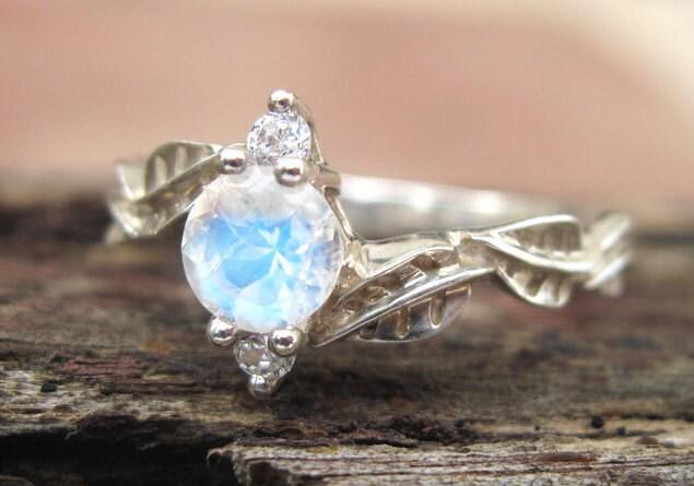 Moonstone Engagement Ring Moonstone Leaf Engagement Ring