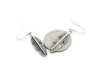 Feather Earrings with Sterling Silver 925 Wires Dangle Earrings
