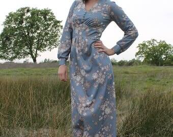BRAMBLE Vintage Maxi Dress 1970's Floral Boho Gunne Sax Style
