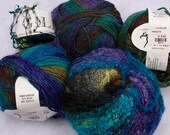 Noro Silk Mohair blend variegated blues and purples 5 Co-ordinating Skeins Wool Blend