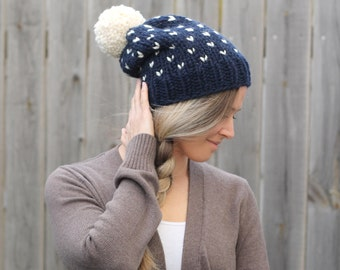 Woman's Heart Fair Isle Knitted Slouchy Hat- Navy with Off White