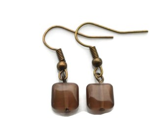 Brown Cats Eye Glass Squares . Earrings