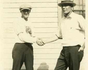 "Antique Photo ""The Deal is Made"" Handsome Man Men Handshake Brother Good Looking Boy Business Men Wearing Hats Old Americana Snapshot - 18"
