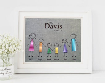 Linen Print, Personalised family print, Hessian, Family gift, Burlap Fabric Print, 8x10, Handmade wall art, rustic home decor family momento