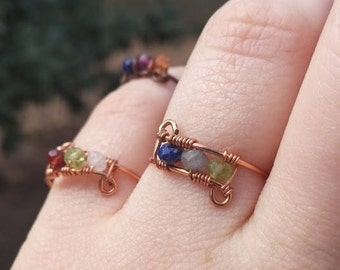 Custom Birthstone Rings, Sisters Rings, Couples Rings, Gemstone Rings, Best Friends Rings, Copper Rings with Gemstones in any color