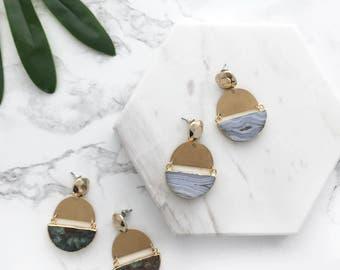 Gemstone Statement Earrings, Mod Half Moon Earrings, Gemstone Earrings, Bold Earrings, Modern Statement Earrings, Gold 70's Earrings, Mod